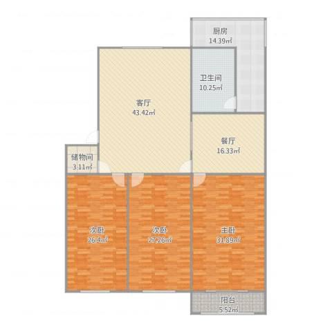 四中宿舍3室2厅1卫1厨235.00㎡户型图