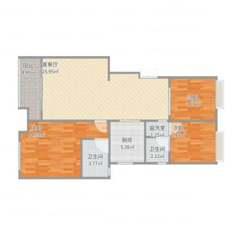 苏宁荣悦3室2厅2卫1厨98.00㎡户型图
