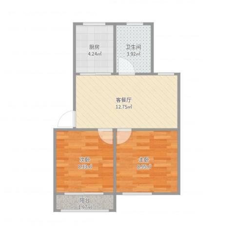 星辰花园2室1厅1卫1厨55.00㎡户型图