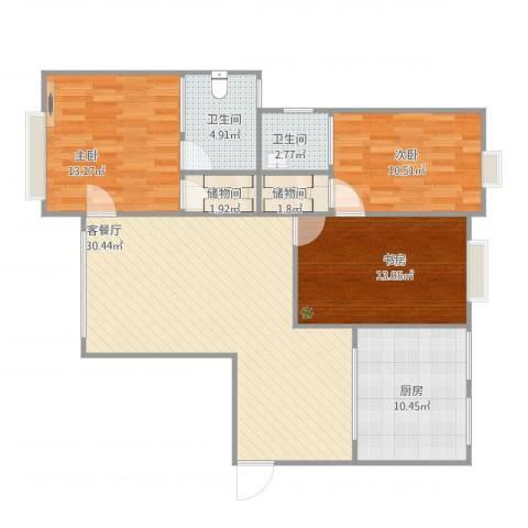 世纪绿洲3室1厅2卫1厨120.00㎡户型图
