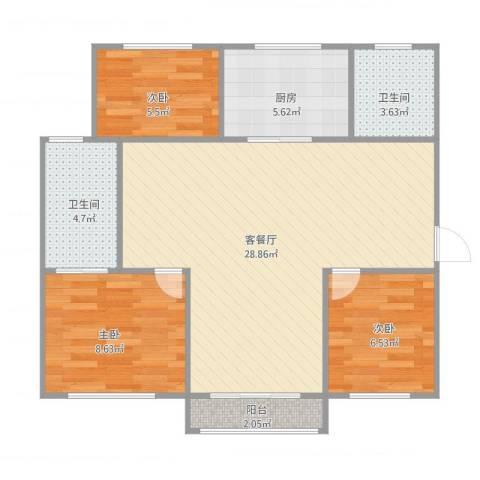 嘉元花园3室1厅2卫1厨89.00㎡户型图