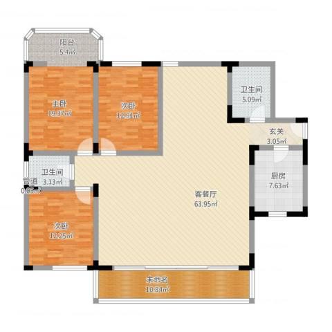 华脉新村3室1厅2卫1厨191.00㎡户型图
