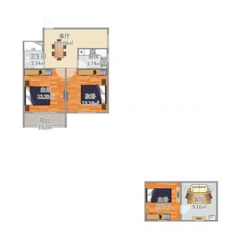 金杨新村3室2厅1卫1厨90.00㎡户型图