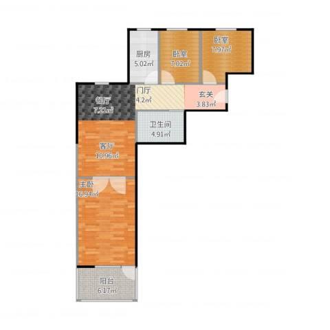 首创・悦树湾3室1厅1卫1厨99.00㎡户型图