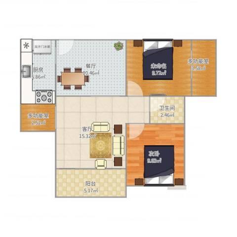 希尔安江上城1室2厅1卫1厨84.00㎡户型图