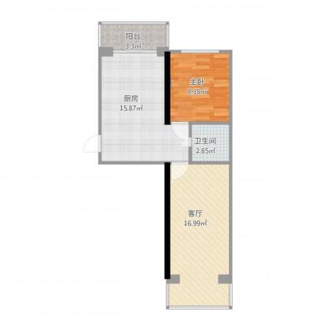 迎宾小区三期1室1厅1卫1厨66.00㎡户型图