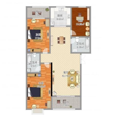 优山美地3室1厅2卫1厨181.00㎡户型图