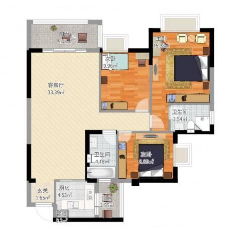 文泉西海岸3室1厅3卫1厨126.00㎡户型图