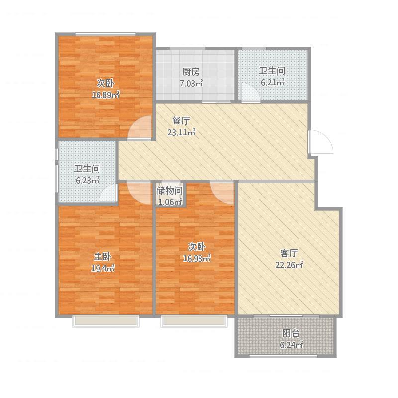 三室两厅133.92平   李硕