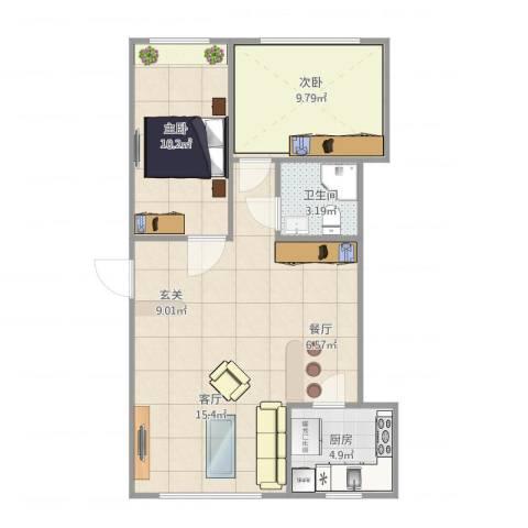 昌鸿小区2室1厅1卫1厨62.40㎡户型图