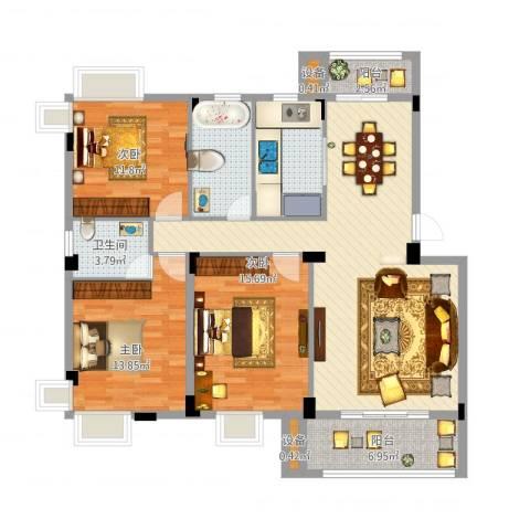 金嘉名筑3室1厅2卫1厨149.00㎡户型图