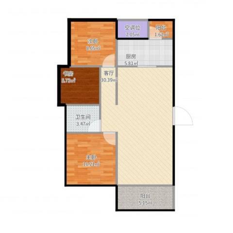 龙湖湘风原著3室1厅1卫1厨99.00㎡户型图