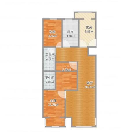 海棠公社2室1厅2卫1厨76.00㎡户型图