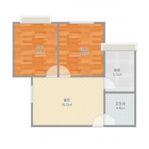 漾河公寓2室1厅1卫1厨65.00㎡户型图
