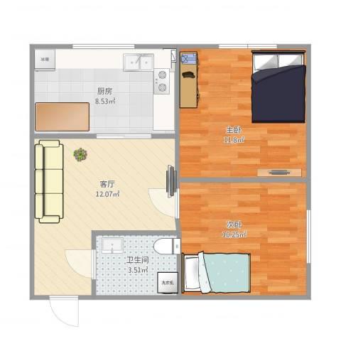 康居新城2室1厅1卫1厨63.00㎡户型图