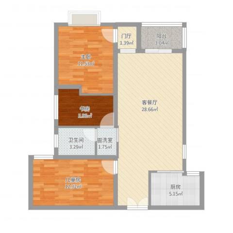大唐世家3号楼任小姐3室2厅1卫1厨104.00㎡户型图