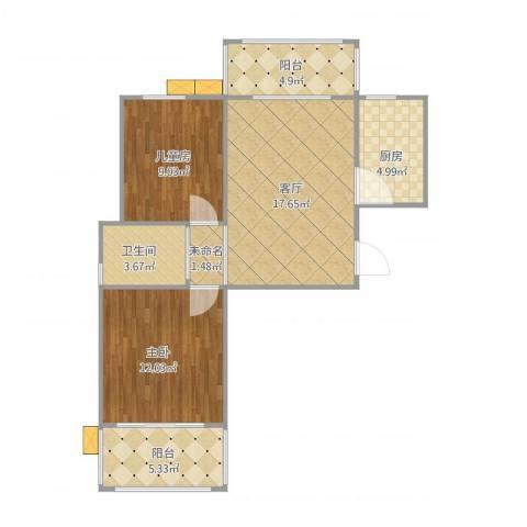 铭和苑2室1厅1卫1厨80.00㎡户型图
