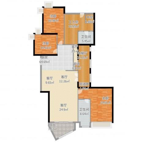 中海观园国际3室1厅2卫1厨241.00㎡户型图