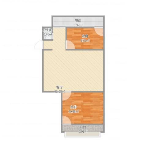 东仓小区2室1厅1卫1厨64.00㎡户型图