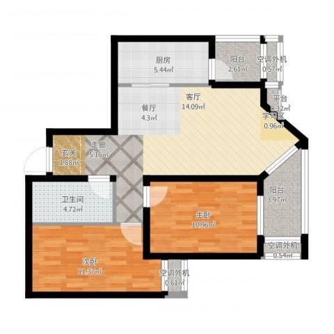 乐城2室1厅5卫1厨98.00㎡户型图