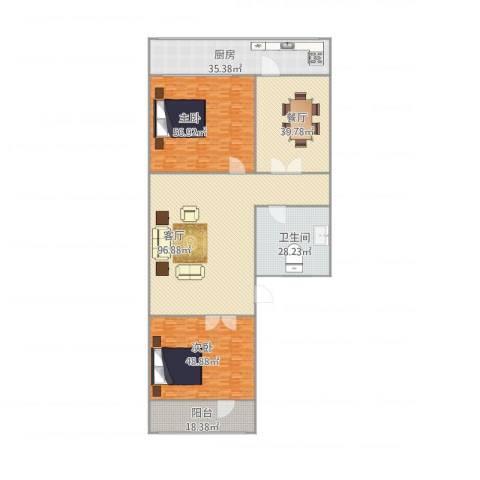 历山路单位宿舍2室2厅1卫1厨421.00㎡户型图