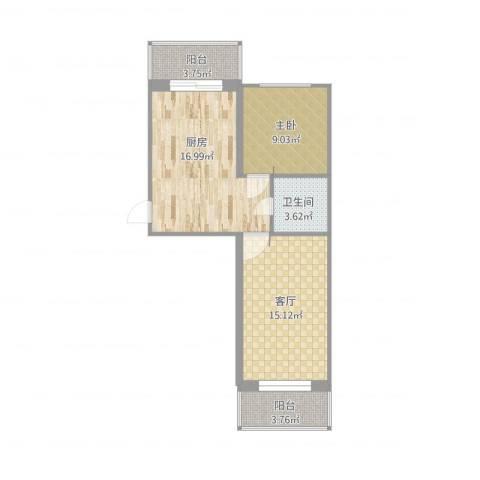 迎宾小区1室1厅1卫1厨74.00㎡户型图