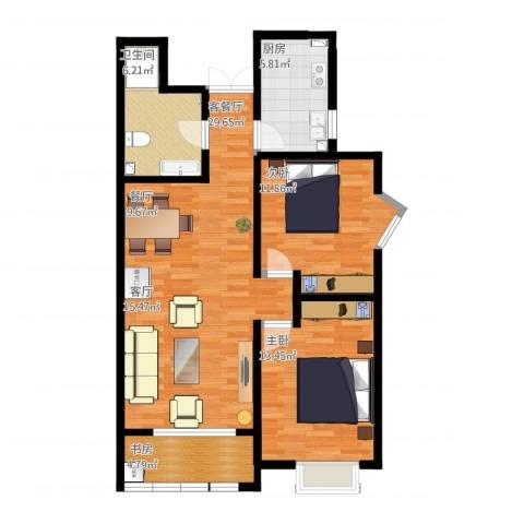 中铁尚都城3室1厅1卫1厨103.00㎡户型图