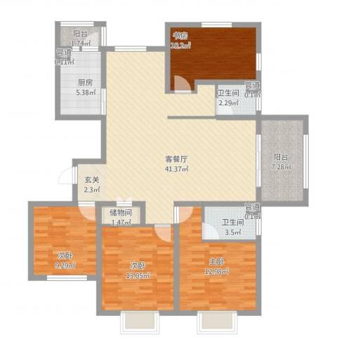 华府天地4室1厅2卫1厨156.00㎡户型图