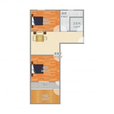 公交公司宿舍2室1厅1卫1厨75.00㎡户型图