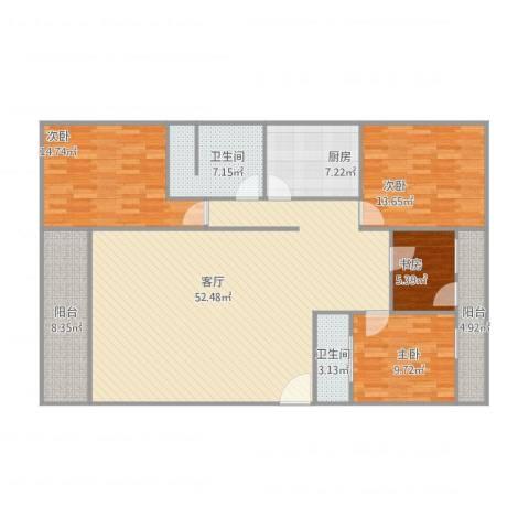 桃花园11号4044室1厅2卫1厨170.00㎡户型图