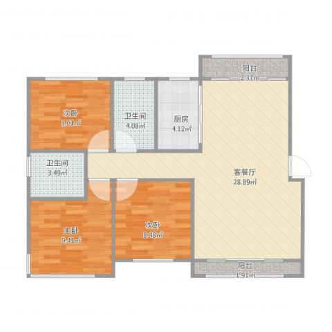 嘉元花园3室1厅2卫1厨97.00㎡户型图