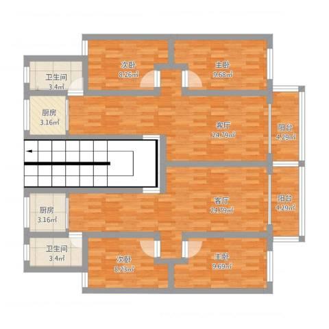银都花园4室2厅2卫2厨159.00㎡户型图