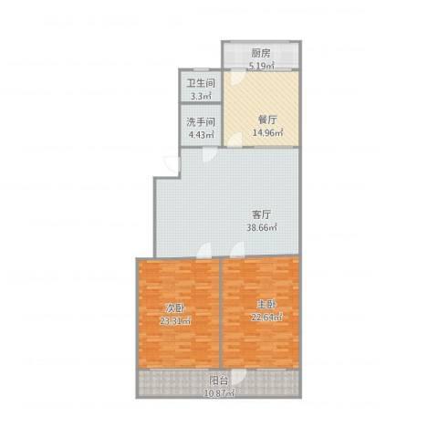 洪楼新居2室2厅1卫1厨164.00㎡户型图