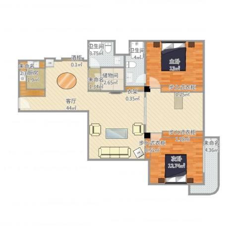兴业大厦2室1厅2卫1厨126.00㎡户型图