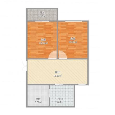 南新三村2室1厅1卫1厨75.00㎡户型图
