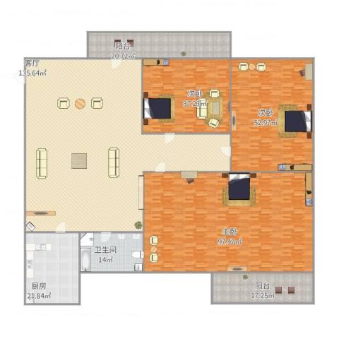 白鹤花苑3室1厅1卫1厨514.00㎡户型图