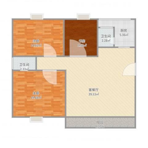 汇银城市花园3室1厅2卫1厨131.00㎡户型图