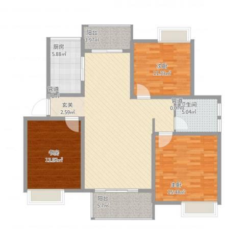 绿地国际花都3室1厅1卫1厨138.00㎡户型图