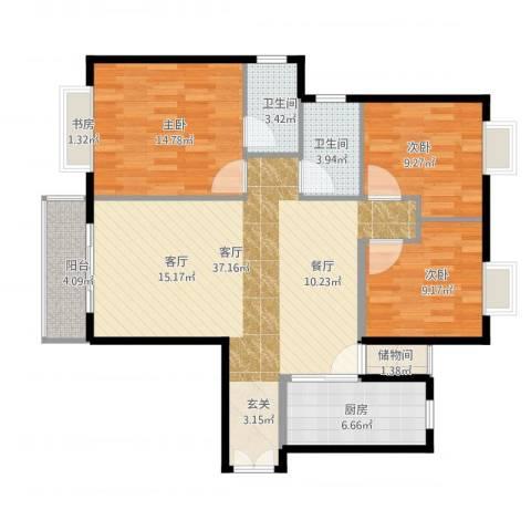 独墅苑3室1厅2卫1厨125.00㎡户型图