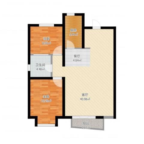 万科蓝山2室1厅1卫1厨107.00㎡户型图