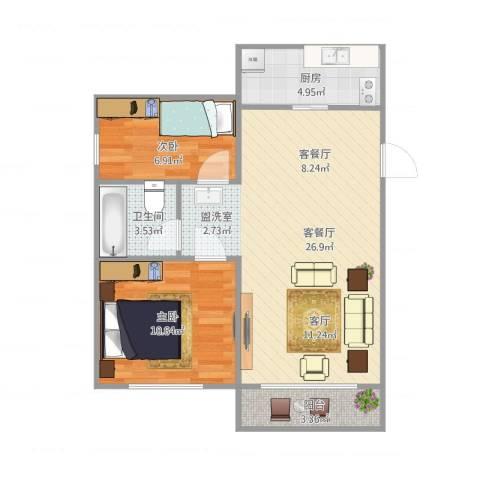 啥地方小区2室1厅1卫1厨76.00㎡户型图