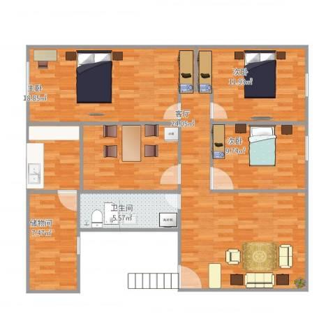 悦园3室1厅2卫1厨125.00㎡户型图