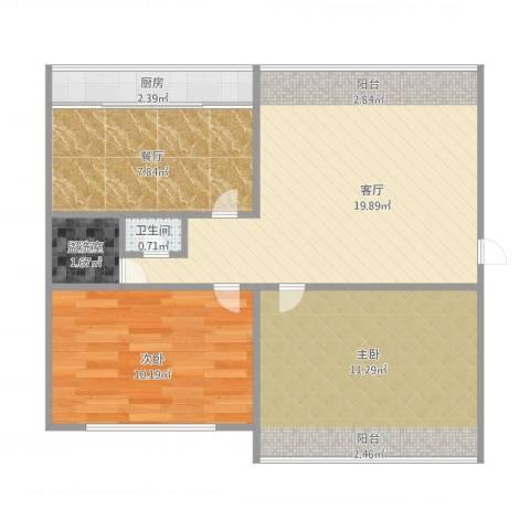 翠竹小区2室3厅1卫1厨77.00㎡户型图