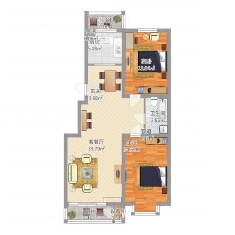 辰宇枫景瑞阁2室1厅1卫1厨89.02㎡户型图