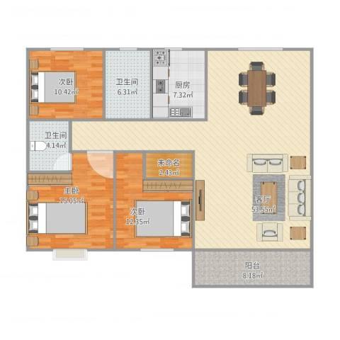 泛华大厦3室1厅2卫1厨160.00㎡户型图