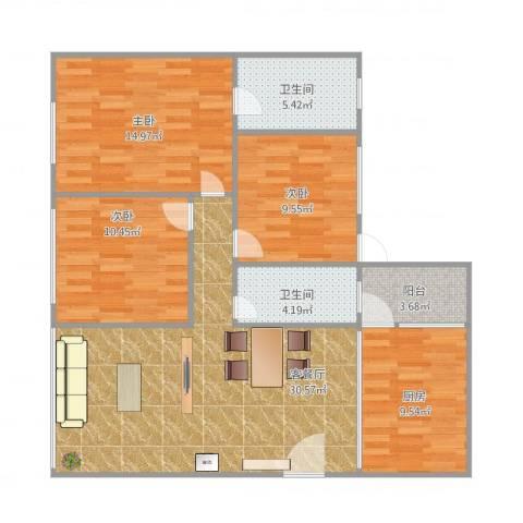 碧翠雅轩3室1厅2卫1厨119.00㎡户型图
