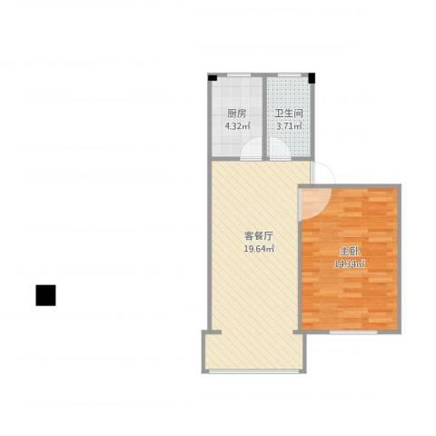 梅福花苑1室1厅1卫1厨57.00㎡户型图