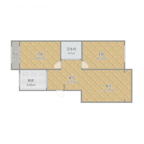 超达家园2室1厅1卫1厨103.00㎡户型图