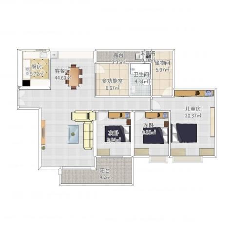 广州亚运城天誉3室1厅2卫1厨166.00㎡户型图