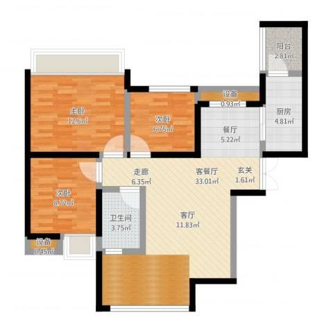 金辉悦府3室1厅1卫1厨108.00㎡户型图